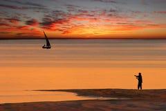 Tramonto della spiaggia Fotografie Stock