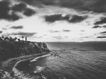 Tramonto della spiaggia in bianco e nero Fotografia Stock