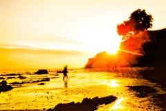 Tramonto della spiaggia con luce solare di estate Fotografie Stock Libere da Diritti