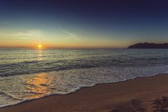Tramonto della spiaggia del mare Immagine Stock Libera da Diritti