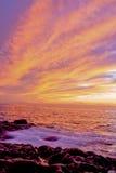 Tramonto della spiaggia dell'oceano Immagine Stock
