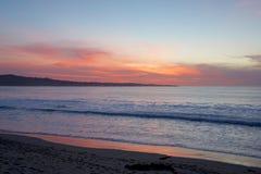 Tramonto della spiaggia di California Fotografia Stock Libera da Diritti