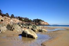 Tramonto della spiaggia di canto Immagine Stock