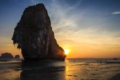 Tramonto della spiaggia di Pranang Fotografie Stock
