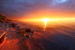 Tramonto della spiaggia di vacanza del Michigan Fotografia Stock Libera da Diritti