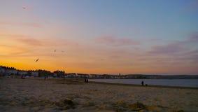 Tramonto della spiaggia di Weymouth Fotografia Stock Libera da Diritti