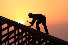 Tramonto della st del Roofer Immagini Stock Libere da Diritti