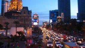Tramonto della striscia di Las Vegas al rallentatore archivi video