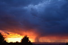 Tramonto della tempesta di inverno di Paso Robles con la siluetta degli alberi e del granaio Fotografia Stock Libera da Diritti