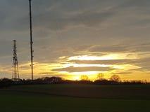 tramonto della torre della TV Fotografie Stock