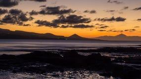 Tramonto delle isole Canarie Fotografie Stock Libere da Diritti