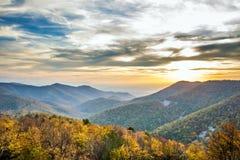 Tramonto delle montagne di Shenandoah Fotografie Stock