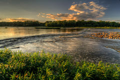 Tramonto delle rapide del fiume Fotografie Stock Libere da Diritti