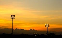 Tramonto dello stadio di sport Fotografia Stock
