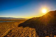 Tramonto in deserto del Mojave vicino al Palm Springs Fotografia Stock Libera da Diritti