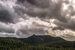 Tramonto di alba su Cheyenne Canyon Colorado Springs del nord fotografia stock