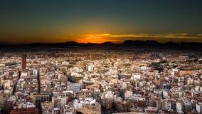 Tramonto di Alicante Immagini Stock Libere da Diritti