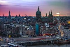 Tramonto di Amsterdam Fotografie Stock