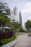 Tramonto di architettura del grattacielo di paesaggio urbano Fotografia Stock