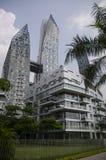 Tramonto di architettura del grattacielo di paesaggio urbano Immagine Stock Libera da Diritti