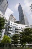 Tramonto di architettura del grattacielo di paesaggio urbano Fotografie Stock