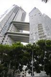 Tramonto di architettura del grattacielo di paesaggio urbano Immagine Stock