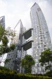 Tramonto di architettura del grattacielo di paesaggio urbano Immagini Stock