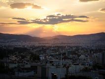 Tramonto di Atene fotografie stock