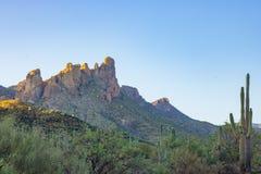 Tramonto di bellezza del deserto Fotografie Stock