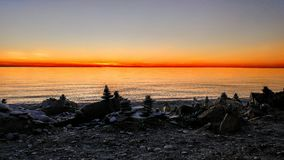 Tramonto di Cabot Trail sopra l'oceano immagine stock