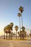 Tramonto di California - Santa Monica Beach Fotografia Stock
