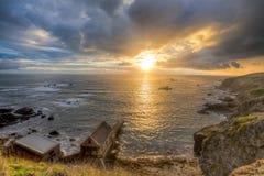 Tramonto di Cornovaglia del punto della lucertola immagini stock libere da diritti