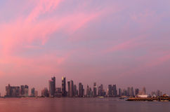 Tramonto di Doha Fotografie Stock