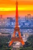 Tramonto di Eiffel di giro Fotografia Stock Libera da Diritti