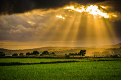 Tramonto di estate con i raggi del sole attraverso le nuvole Fotografia Stock Libera da Diritti