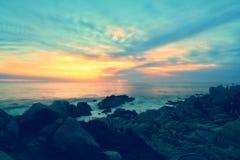 Tramonto di estate della spiaggia Immagini Stock