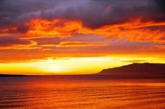 Tramonto di estate in Islanda Fotografie Stock Libere da Diritti