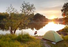 Tramonto di estate sul fiume Fotografia Stock Libera da Diritti