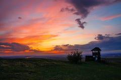 Tramonto di fiaba sul Hainburg Fotografia Stock