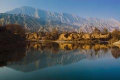 Tramonto di Gansu il fiume Giallo Fotografie Stock Libere da Diritti
