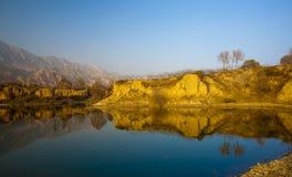 Tramonto di Gansu il fiume Giallo Fotografia Stock