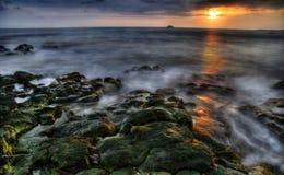 Tramonto di grande isola Fotografie Stock Libere da Diritti