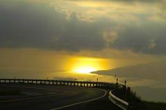 Tramonto di Haleakala dalla strada principale della regione montana Fotografia Stock