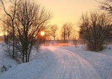 Tramonto di inverno Immagine Stock