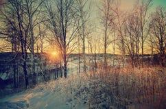 Tramonto di inverno dalla collina Fotografie Stock