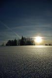 Tramonto di inverno del Hoar-frost in Javorniky Immagini Stock