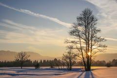 Tramonto di inverno nel Isarwinkel Fotografia Stock