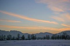 Tramonto di inverno nel Isarwinkel Fotografia Stock Libera da Diritti