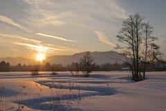 Tramonto di inverno nel Isarwinkel Fotografie Stock