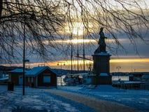 Tramonto di inverno a Oslo, Norvegia Fotografie Stock Libere da Diritti